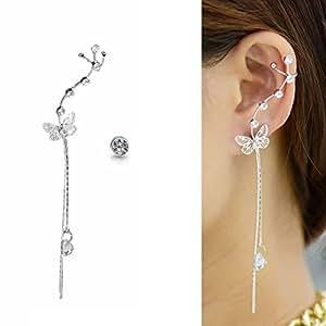 CIShop Asymmetry Buttefly Alloy Zircon Stud Earrings Ear cuff Earrings Sweet Ear Wrap Hypoallergic Left Ear (White)