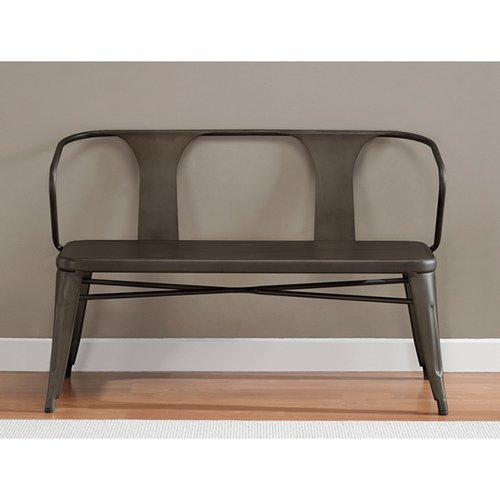 Metal Foyer Bench : Vintage metal bench with back spruce up your foyer or