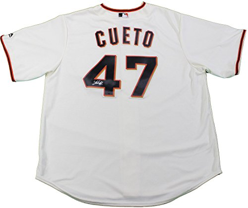 Johnny Cueto Signed Majestic San Francisco Giants Ivory Replica Home Jersey Derek Jeter Replica Baseball Jersey