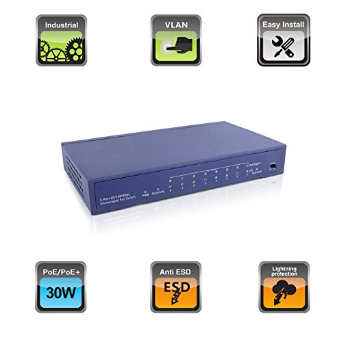 Huacomm 8-Port PoE+ Switch with Full PoE Ports Plug-and-Play Desktop for IP Camera Access Points IP Phone Metal Housing Ethernet extended Unmanaged IEEE 802.3af/at 65W HC1709P by Huacomm (Image #1)