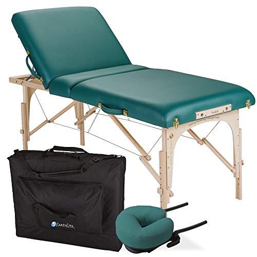 EARTHLITE Portable Massage Table Package AVALON TILT - Reiki Endplate, Premium Flex-Rest Face Cradle & Strata Cushion, Carry Case (30