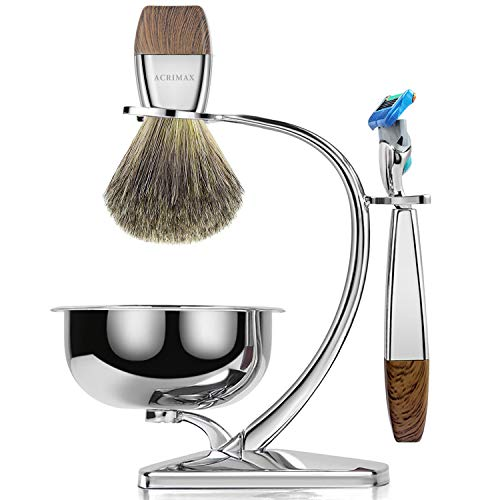 (ACRIMAX Premium Shaving Brush Set with 100% Pure Badger Shaving Brush, Luxury Brush Stand, Soap Bowl and Manual Safety Razor(Fusion5) Kits for)