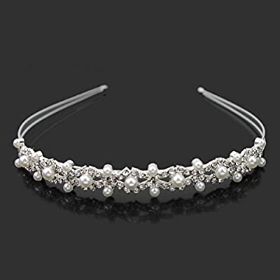 Pixnor Wedding Party Bridal Bridesmaid Flower Girl Double Faux Pearl Crown Headband Tiara