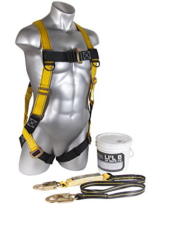 Roofing Fall Protection (Guardian Fall Protection 00870 Li'l Bucket of Safe-Tie with HUV, Shock Absorbing Lanyard and Red Nylon Bag)