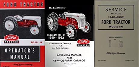 ford 8n tractor 3 manual set owner s repair assembly reprint ford rh amazon com ford 8n tractor owners manual download ford 8n tractor service manual