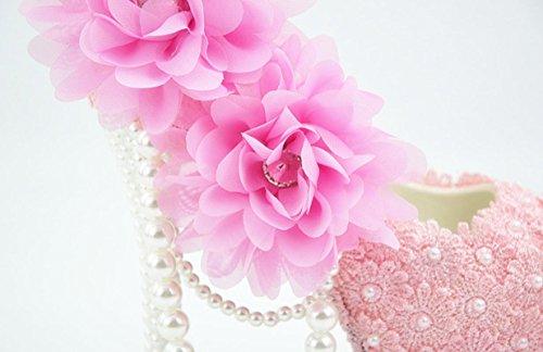 YCMDM Donne Hgh Tacchi rotondo di nozze singoli pattini pizzo rosa cipria fiori damigella d'onore Nightclub Shoes , 5 cm with high reservation , 44