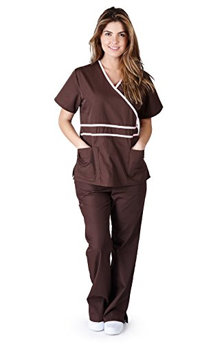 (Natural Uniforms Women's Contrast Mock Wrap Scrub Set (Chocolate) (Large) )