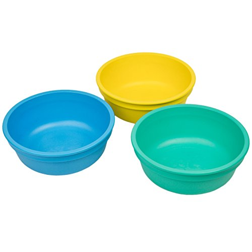 Re-Play Made in The USA 3pk Bowls for Easy Baby, Toddler and Child Feeding - Yellow, SkyBlue, Aqua(Surf)