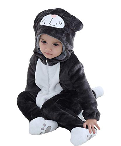 Tonwhar Baby Animal Cat Onesie Romper Halloween Costume (100 Ages 18-24 Months, Black Cat) ()