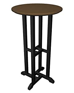Poly Wood RBT224FBLTE Contempo 24 in. Round Bar Height Table - Black Frame - Teak