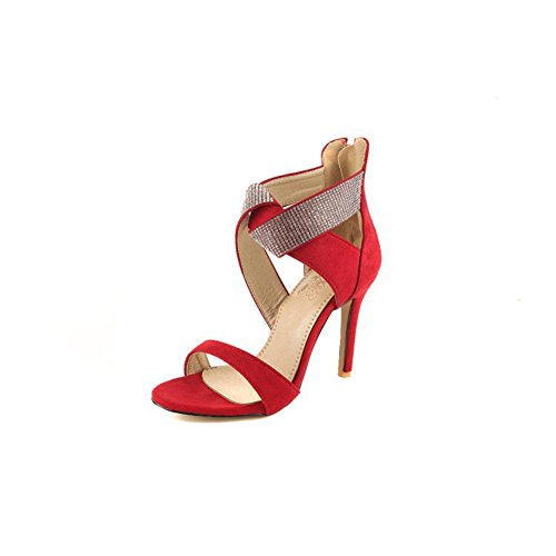 A Zipper Fall Suede Women's Shoes Color Sandals Evening Comfort Open 37 Toe Party amp; Wedding for Size Rhinestone Spring Stiletto Heel tUUw5qPr