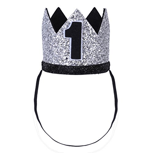 (iiniim Baby Girls Boys First /1st Birthday Party Hat Little Prince Crown Headband Head wear Accessories Silver Number 1 One Size)
