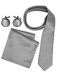 Peach Couture Men's Silk Feel Necktie Cufflinks Pocket Square Handkerchief Set (Solid, Silver)
