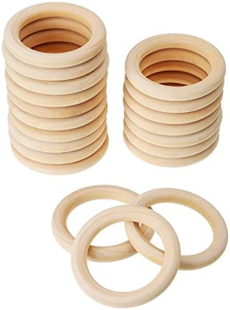 Onwon 10 Pieces Wooden Rings Natural Wood Rings Without Paint Smooth Unfinished Wood Circles for Craft DIY Baby Teething Ring Pendant Connectors Jewelry Making 55mm