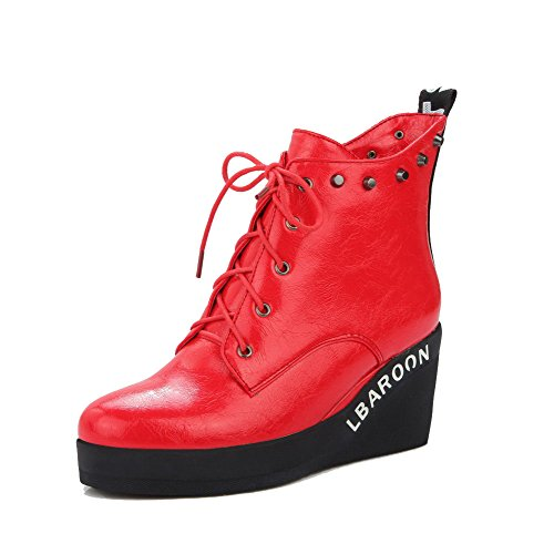 Allhqfashion Women's Round Closed Toe High Heels Soft Material Low Top Solid Boots Red GDBzQ