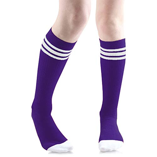(Baby, Toddler & Kids Knee High Tube Socks For Boys & Girls With Grips (6-10 Years (Size 1-7), Dark Purple with white stripes))