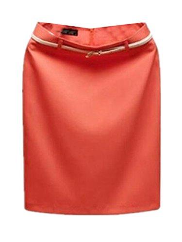Aoliait Femme Jupe en t Slim Fit Jupe Court Commercial Femelle Jupe Taille Haute Skirt ElGant Jupe Tendance Jupe Orange