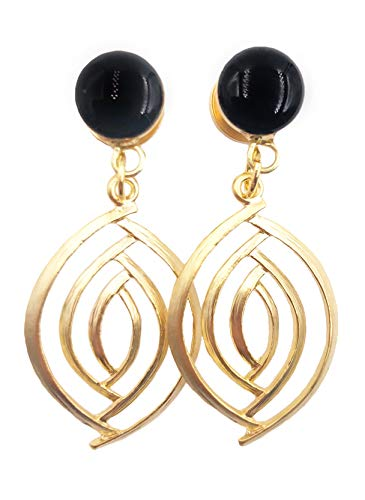 Chic Swirl - Handmade Chic Black Gloss Swirl Dangle Plugs - 8g, 6g, 4g, 2g, 0g, 00g, 1/2, 9/16, 5/8, 11/16, 3/4 inch - Silver or Gold