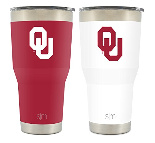 Simple Modern University of Oklahoma 30oz Cruiser Tumbler 2-Pack - Vacuum Insulated Stainless Steel Boomer Travel Mug - Sooners OU Tailgating Hydro Cup College Flask Oklahoma Sooners Stainless Travel Mug