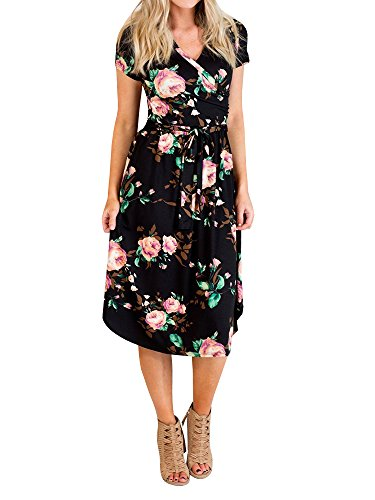 Gemijack Womens Bridesmaid Dresses Floral Wrap V Neck Short Sleeve Summer Midi Dress with Belt Cotton Short Sleeve Wrap