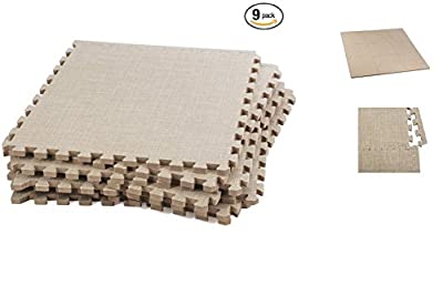 ABOVE EDGE Soft Eva Foam Interlocking Linen Floor Tiles 9 Pack | Soft, Lightweight, Durable, Non Slip, Insulating & Stylish Puzzle Tiles | Upgrade Home Décor, Soften Hardwood