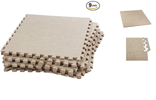 ABOVE EDGE Soft Eva Foam Interlocking Linen Floor Tiles 9 Pack | Soft, Lightweight, Durable, Non Slip, Insulating & Stylish Puzzle Tiles | Upgrade Home Décor, Soften Hardwood (Tan)