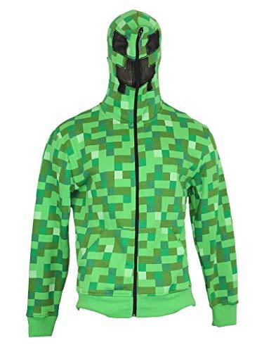 Minecraft Hoodie Zip Up Sweatshirt - Full Costume Style Creeper Image (Medium) Green ()