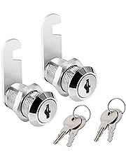 "Cabinet Cam Lock, 1""(25mm) Keyed Alike Cam Locks Secure File Drawer Mailbox Tool Box Dresser RV Cylinder Replacement Lock Hardware, Chrome-Finish Zinc Alloy. (2 Pack)"