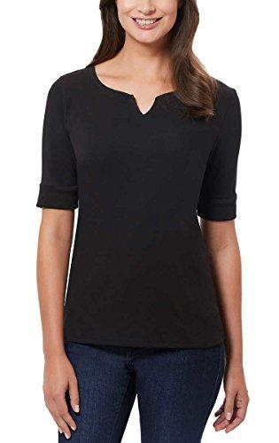 Ellen Tracy Women's Pima Cotton/Lycra V-Neck Cuff Sleeves T-Shirt – The Super Cheap