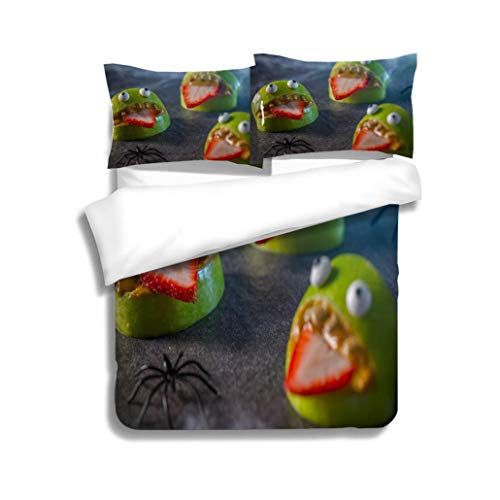 MTSJTliangwan Duvet Cover Set Healthy Halloween Apple Monsters Fruit Kids Treat 3 Piece Bedding Set with Pillow Shams, Queen/Full, Dark Orange White Teal Coral ()
