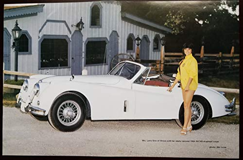 Magazine Print Poster: Mrs Larry Sinn, Illinois, 1955 Jaguar XK-140 Drophead Coupe, from 1987 issue of EJAG Magazine, Photograph by Mel Irvine, 11 X 17 inches