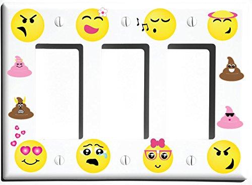 (Triple Rocker Switch Plate) - Triple Rocker Emoji Light Switch Wall Plate Covers/Emoji Room Decor (Triple Rocker Switch Plate) B06Y2CJDP8   Triple Rocker Switch Plate