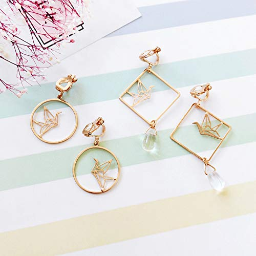 18K Gold Plated Simple Hollow Out Paper Cranes Water Droplets Pendant Dangle Hook Earrings For Women Girls by FURONGWANG (Image #5)