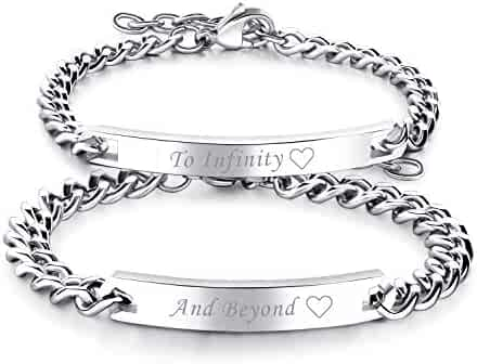 a779b58d1 Cupimatch 2pcs CZ His and Hers Couple Bracelets Set, Adjustable Titanium Stainless  Steel to Infinity