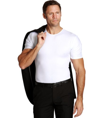 Insta Slim Mens Compression Crew-Neck T-Shirt, The Magic Is In The Fabric! (2X-Large, White) by Insta Slim (Image #4)