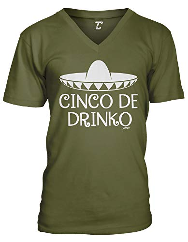 Cinco De Drinko - Sombrero Drinking May 5th Unisex V-Neck T-Shirt (Olive, X-Large)