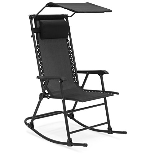 Best Choice Products Foldable Zero Gravity Rocking Patio Chair w/ Sunshade Canopy - Black ()