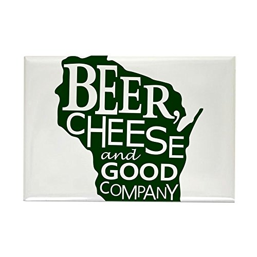 (CafePress Beer, Chees & Good Company In Green Rectangle Magn Rectangle Magnet, 2