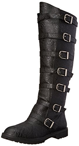 Funtasma Men's Gotham-110 Engineer Boot, Black Distressed Polyurethane, Large/12-13 M (Angel Costume Men)