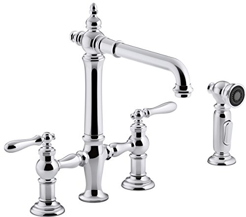 Kohler K-76519-4-CP Artifacts Deck-Mount Bridge Kitchen Sink Faucet with Lever Handles and sidespray Polished Chrome