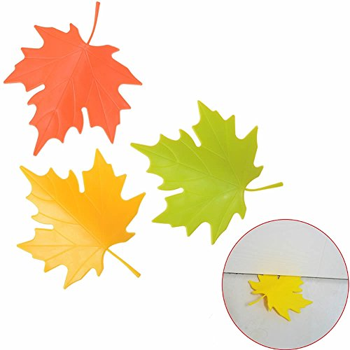 MAXGOODS 3 Pack Maple Leaf Shaped Door Stopper,Cute Colorful Home Garden Office Decor Finger Safety Doorstop,Green&Orange&Yellow from maxgoods