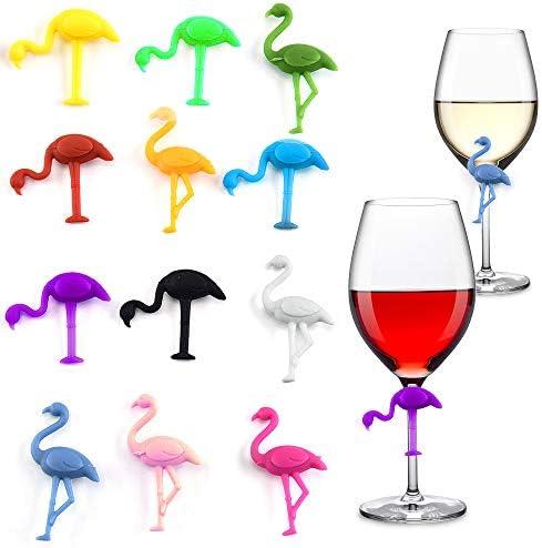 Gresunny 12 stuks siliconen glasmarkeringen flamingo vorm glazen marker party wijnglas mark labelmarkeringen drankmarkeringen wine glass recognizer glasmarker voor bar partij eettafel decoraties