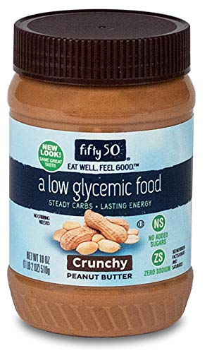 (Fifty 50 Foods Low Glycemic, No Added Sugar, Crunchy Peanut Butter, 18 Ounce (Pack of 6))