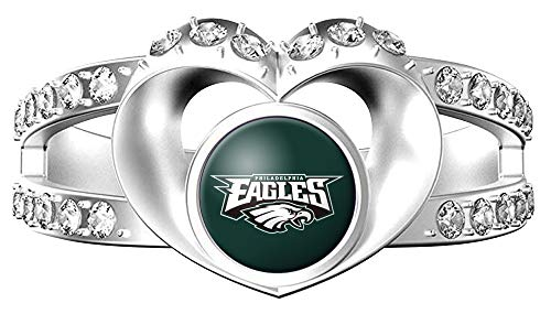 (MT-Sports NFL Heart Shaped Lady Ring Lady Exquisite Heart Shaped Ring (Philadelphia Eagles, 7))