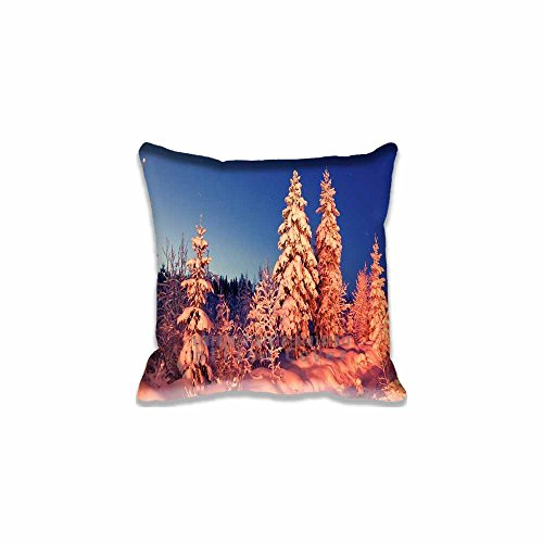 Custom Design Winter Evening Pillow Cases Zippered , 16x16 Square Seasons Pillowcase - Winter Cushion Covers Two Size (Angry Birds Season 3 Halloween 2-12)