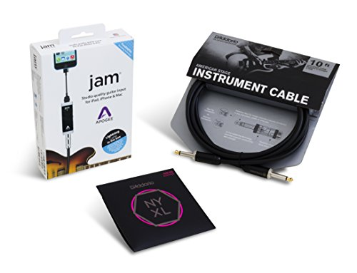 Apogee JAM Electric Guitar Accessory Bundle with D'Addario NYXL Extra Light Strings and American Stage Cable