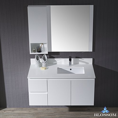 BLOSSOM 000-42-01-R-WH-M Monaco 42'' Wall Mount Right Vanity Set with Mirror and Wall Cabinet Matte White by Blossom