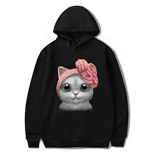 Spring Color  Women's Casual Cat Print Tops Fashion Hoodie O Neck Long Sleeve Loose Blouse Shirt ()