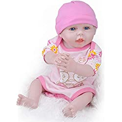 Birdfly Type:9003 Reborn Toddler Smile Baby Doll Jumpsuit Girl with Lovely Dog Print Silicone Lifelike Toy