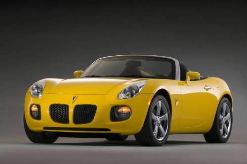 Pontiac Solstice GXP Roadster (2007) Car Art Poster Print on 10 mil Archival Satin Paper Yellow Front Side Studio View 16